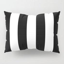 Midnight Black and White Vertical Cabana Tent Stripes Pillow Sham