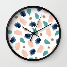 turquoise, navy, pink & gold Wall Clock