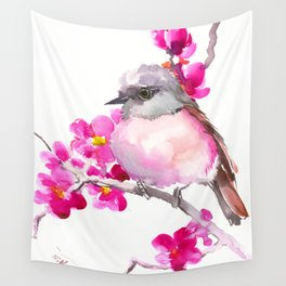Pink Robin and Pink Flowers, Nursery Art Wall Tapestry