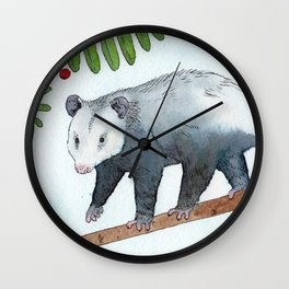 Opossum in a Rowan Tree Wall Clock