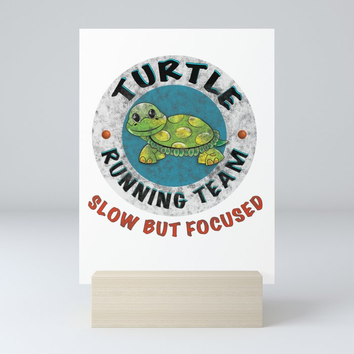 Turtle Running Team I Funny Slow Runner Gift Idea Mini Art Print