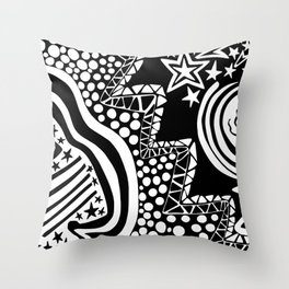 Soul Of The Dream Desert - Star Gazer (Black and White Edition) Throw Pillow