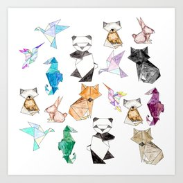 Cute Hand Drawn Geometric Paper Origami Animals Art Print