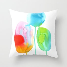Abstract Rainbow drops Throw Pillow