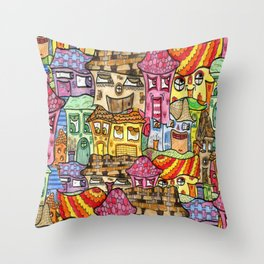 Suburbia watercolor collage Throw Pillow