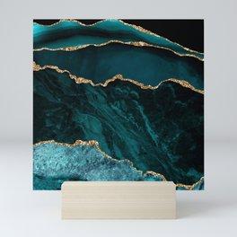 Teal Blue Emerald Marble Landscapes Mini Art Print