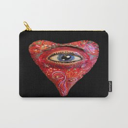 folk art heart with eye, black red blue Carry-All Pouch