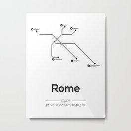 Rome Subway Map Metal Print