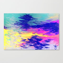 Neon Mimosa Inspired Painting Canvas Print
