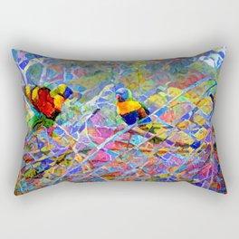Rainbow Lorikeet Mosaic Rectangular Pillow