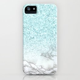 Turquoise Sea Mermaid Glitter Marble iPhone Case