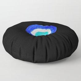Single Evil Eye Amulet Talisman Ojo Nazar - on black Floor Pillow