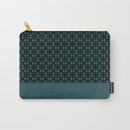 Black Square Petals Graphic Design Pattern on PPG Paint Black Emerald Green Carry-All Pouch