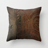 leather Throw Pillows featuring Aged Leather by Dorothy Pinder
