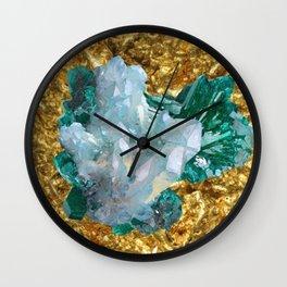 WHITE QUARTZ &  AQUAMARINE CRYSTALS  ON GOLD Wall Clock