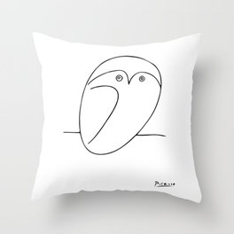 The Owl, Pablo PIcasso sketch drawing, line Design Throw Pillow