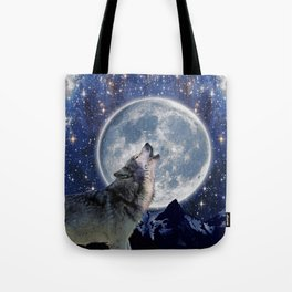 One Wolf Moon - Wildlife Art Tote Bag