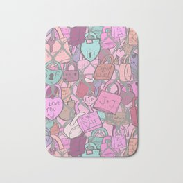 Love Locks Fence in Rose Champagne Bath Mat
