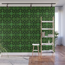 Oriental Mandala Pattern, Black & Green Wall Mural