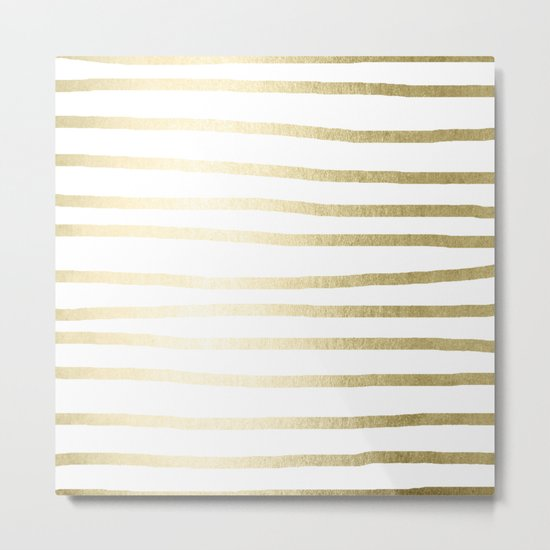 Simply Drawn Stripes Gilded Palace Gold Metal Print