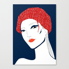 the girl with the hat Canvas Print