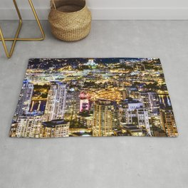 1549 Voyeuristic Vancouver Cityscape NightView over False Creek City Of Lights Canada Rug
