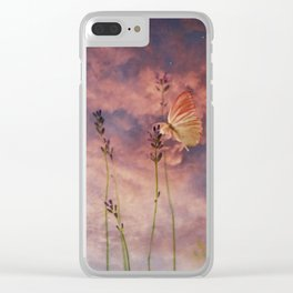 Peach and Yellow Butterfly on Lavender at Indigo Blue Starry Twilight Clear iPhone Case