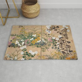 Ogata Korin Flowering Plants in Autumn Rug