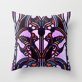 Pink Blue and Green Glowing Art Nouveau Stain Glass Design Throw Pillow