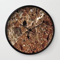 30 rock Wall Clocks featuring Marble Texture 30 by Robin Curtiss