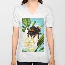 Bee on flower 5 Unisex V-Neck