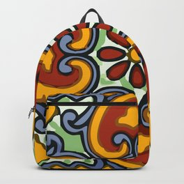 Talavera Mexican tile inspired bold design in green, gold, red and blue Backpack
