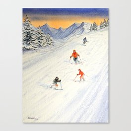 Skiing Family On The Slopes Canvas Print