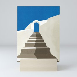 Stairs to the Sky - Santorini, Greece - Minimalist Travel Print - Romantic Coastal Vibes Mini Art Print