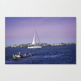 Newport Oregon Sailing The Yaquina Bay Canvas Print