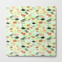Crayon animals Metal Print