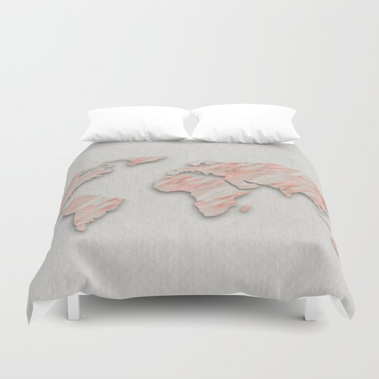 Rose Gold Marble World Map On Paper Duvet Cover By