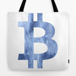 Bitcoin Blue clouds watercolor pattern Tote Bag