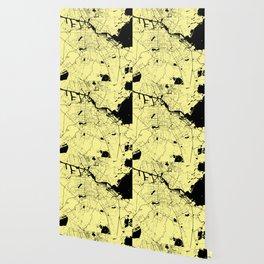 Amsterdam Yellow on Black Street Map Wallpaper
