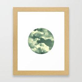 Cloudy sky photograph, dreamy white green, spring decor Framed Art Print
