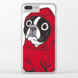 Red Hoodie Boston Terrier Clear iPhone Case