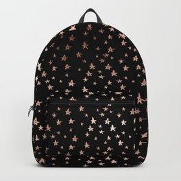 Black & Rose Gold Star Pattern Backpack
