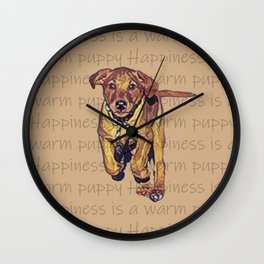 Happiness is a warm puppy III Wall Clock