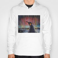 penguin Hoodies featuring Aurora Penguin by Michael Creese