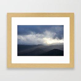 Light Streaming over mountains Framed Art Print
