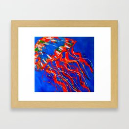 Red Jellyfish Framed Art Print
