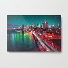 New York City Lights Red Metal Print