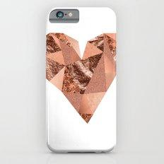 Rose gold geometric heart - glitter & foil iPhone 6s Slim Case