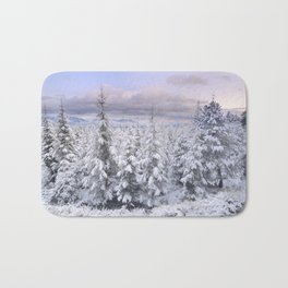 Snow time. Sunset at the mountains Bath Mat