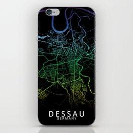 Dessau, Germany, City, Map, Rainbow, Map, Art, Print iPhone Skin